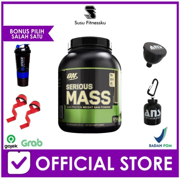 Foto Produk Optimum Nutrition Serious Mass 6 Lbs Bonus Shaker ON dari Susu fitnessku