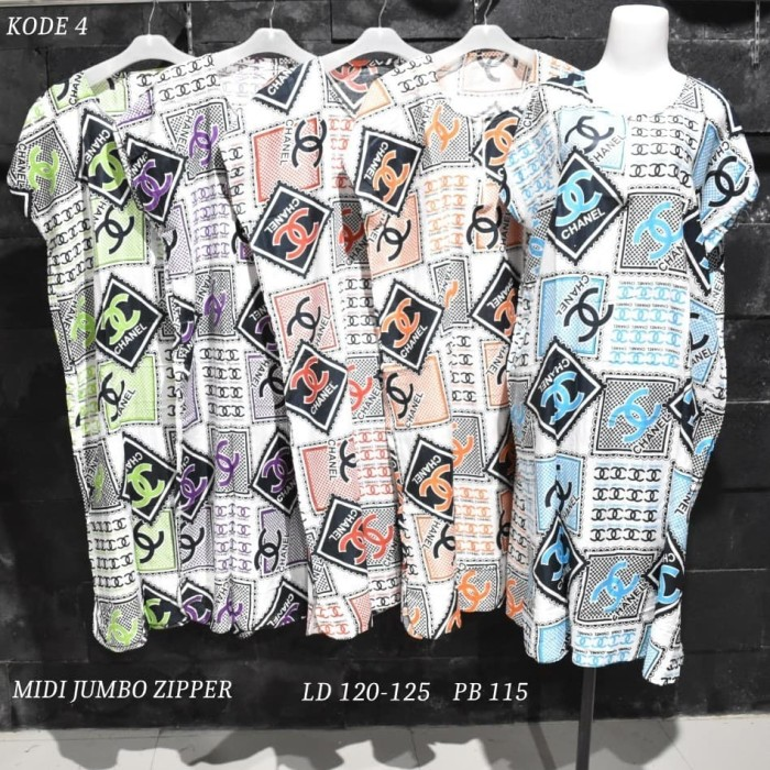 Foto Produk Grosir Daster Midi Jumbo Rayon Busui Zipper Murah Baju Tidur Kode 4 dari Rumah Batik Pekalongan 2