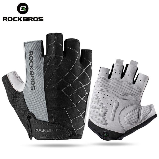 Foto Produk Gloves Rockbros Sarung Tangan MTB Sepeda Half Finger Gloves Original - Abu-abu, M dari Rockbros Bike