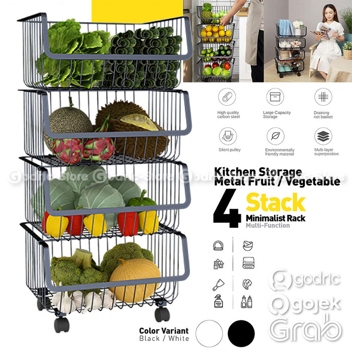 Foto Produk Rak Buah Rack Sayur Dapur 4LYR Stainless Penyimpanan Portable Piring - BLACK dari Godric Store