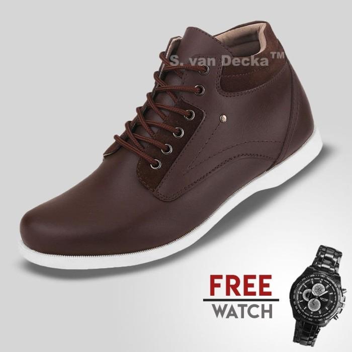 Foto Produk Sepatu Casual Pria S.Van Decka J-TY01K Free Jam Tangan Sport - Cokelat, 40 dari S.Van Decka