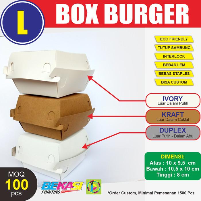Foto Produk PBC-L00 Craft Paper Box Burger / Kemasan Burger Polos Uk. L 10x10x8 cm dari Bekasi Printing
