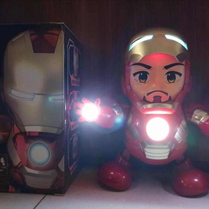 Foto Produk Robot Dance Super Hero Joget Dance Musik Lampu Led Lucu Untuk Anak - Ironman dari good_price store 2