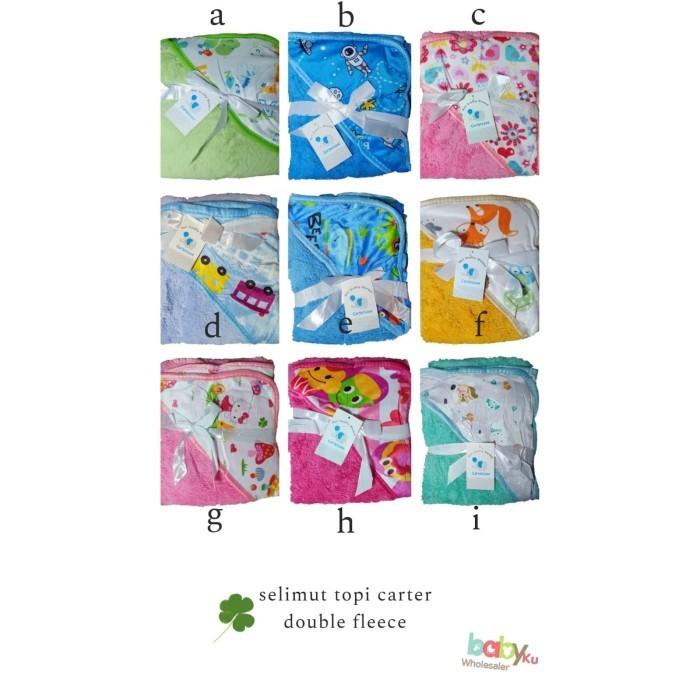 Foto Produk selimut topi bayi carter double fleece / selimut topi carter murah - kode A dari BABYKU WHOLESALER
