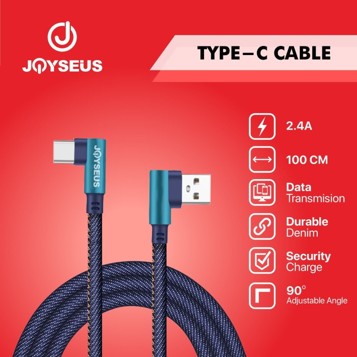 Foto Produk Kable Data 90 Degree Type-C Type C USB 2.4A JOYSEUS 100CM - KB0065 dari Joyseus Official Store