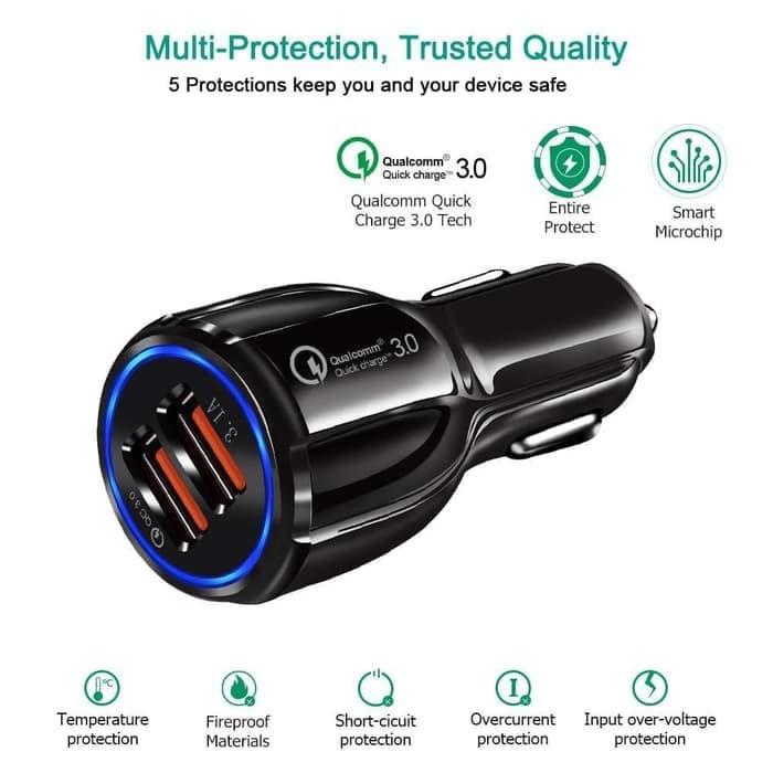 Foto Produk Quick charging QC 3 Fast car Charger cas Mobil 2 USB Slot samsung xiao dari Original New