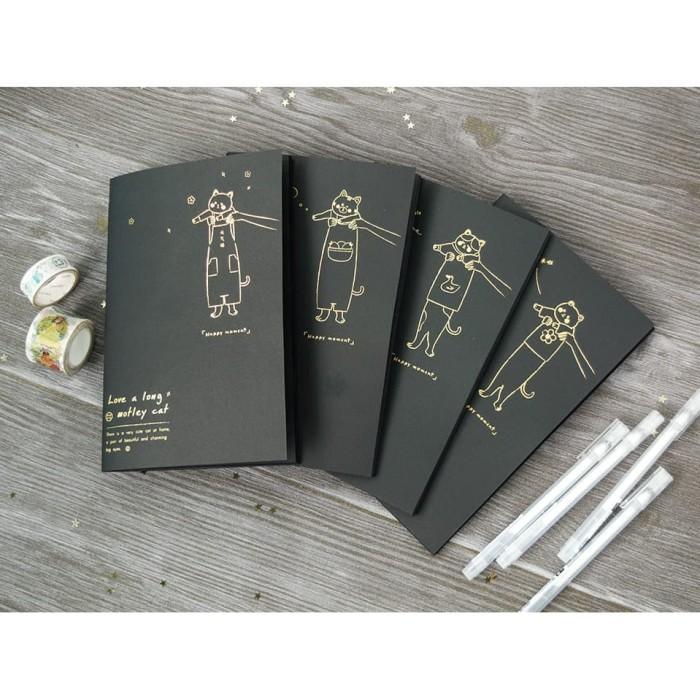 Foto Produk Motley Cat Black Paper Plain Notebook A5 / Buku Tulis Hitam / Buku A5 dari Pinkabulous