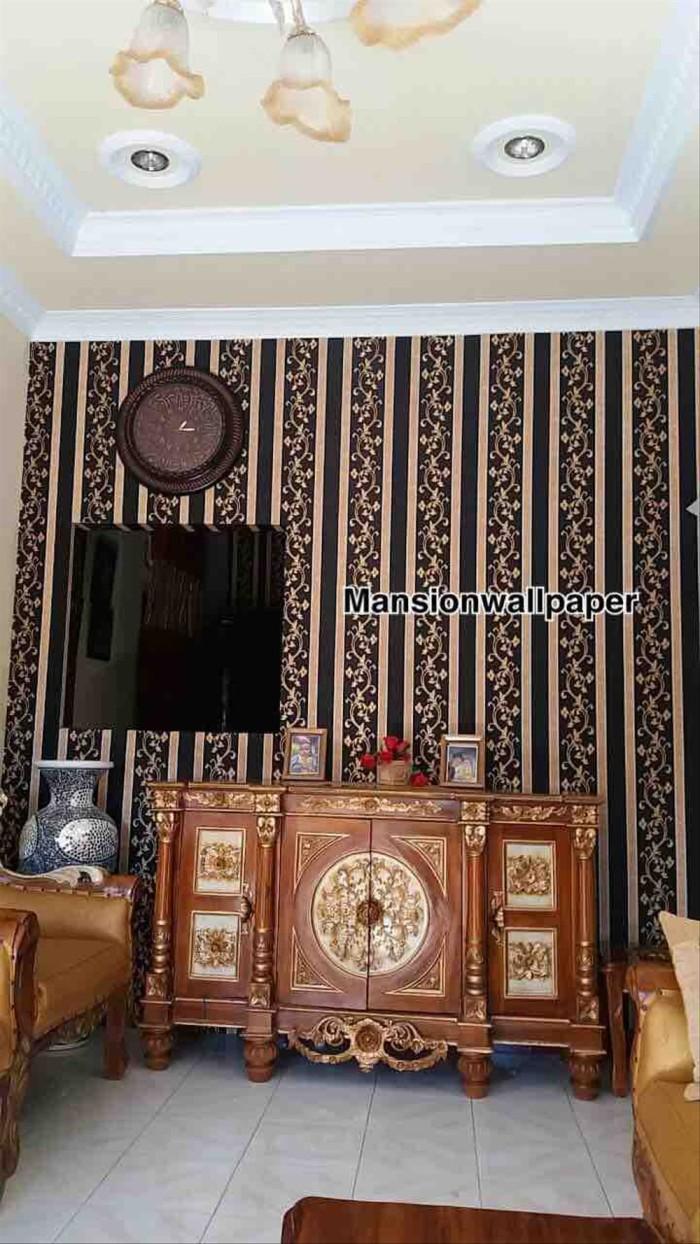 Jual Wallpaper Dinding Garis Salur Klasik Ulir Hitam Gold Elegan Bermutu Jakarta Barat Newtown Shop