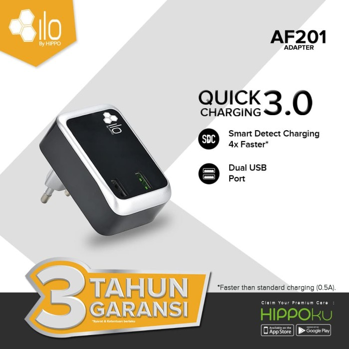 Foto Produk Hippo ILO AF201 Adaptor Charger Fast Quick Charging 3.0 Simple Pack dari iLo Official Store