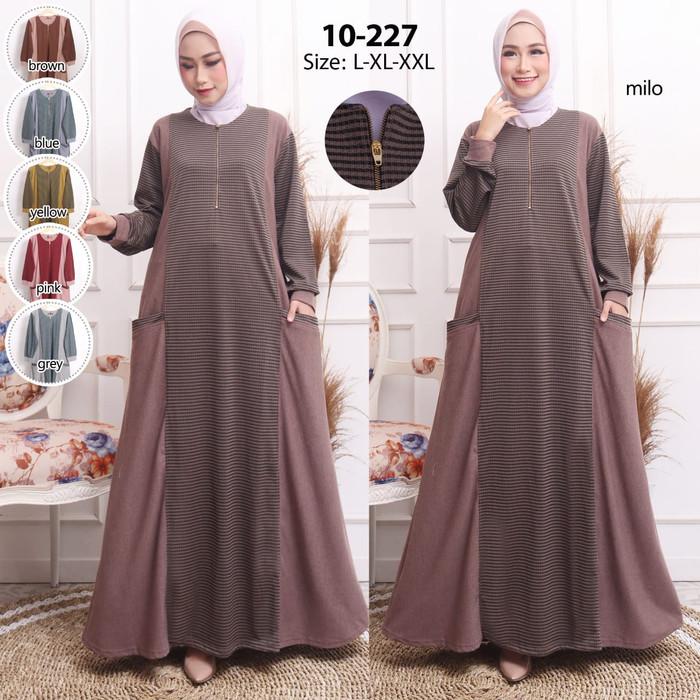 Foto Produk Baju gamis wanita gamis kaos import / Baju muslim gamis lengan panjang - L dari Hemat waktu fashion