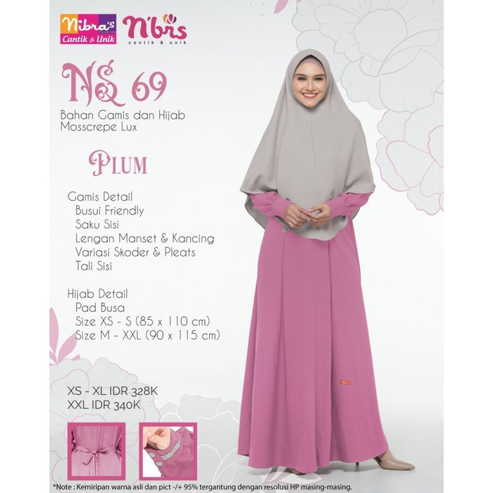 Jual Diskon Gamis Syari Muslimah Dewasa Family 2020 Nibras Keluarga Ns 69 Plum Xs Kota Tangerang Selatan Faiqoh Muslim Store Tokopedia