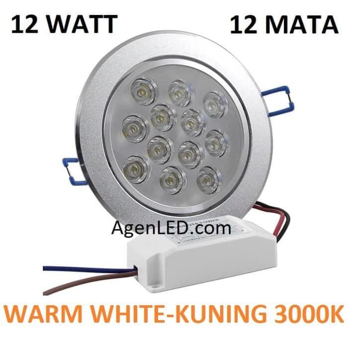 Foto Produk Lampu Downlight LED Spot sorot 12W WARM WHITE 12 WATT mata 12 w KUNING dari AgenLED