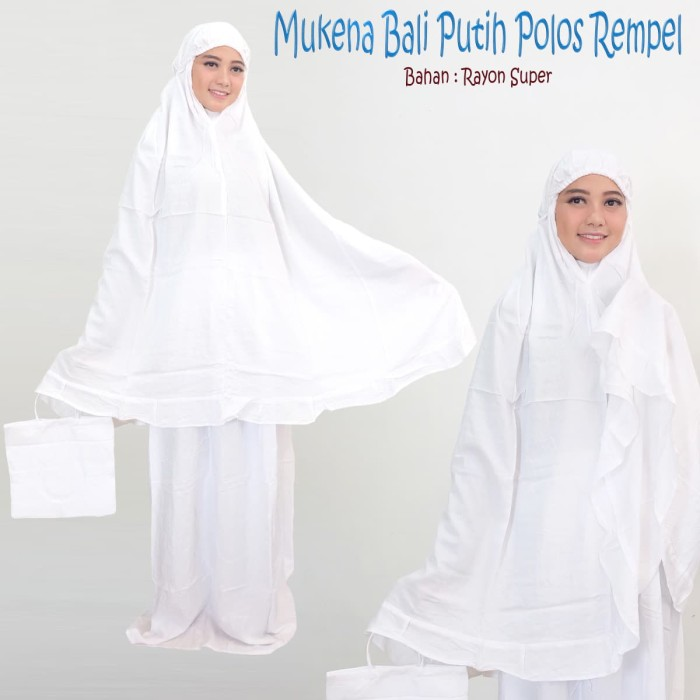 Foto Produk mukena Bali putih polos rempel jumbo, cocok buat Souvenir dari Palm Shop Mukena Bali