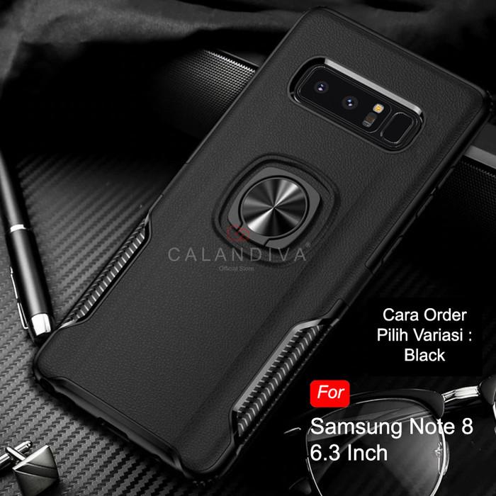 Foto Produk Calandiva Samsung Galaxy Note 8 Hard Case Casing Ring Thunder Hybrid - Hitam dari Calandiva Official Store