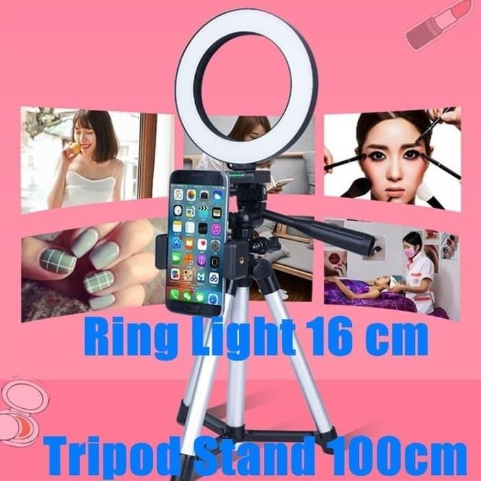 Foto Produk Ring Light 16cm+ Tripod Stand 1m / Selfie / Siaran langsung dari A M S