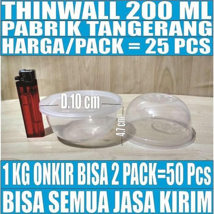 Foto Produk Mangkok Plastik 200 ml Tempat Kotak Makan Nasi Cup Puding Thinwall dari kebutuhan pokok sembako