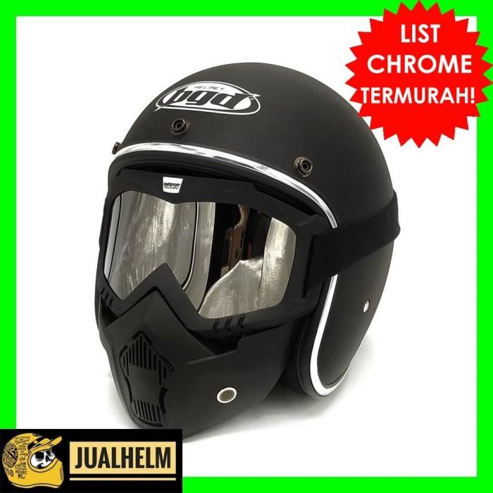 Foto Produk Helm Bogo Retro BGD Black Doff List Chrome + Goggle Mask dari Jual Helm