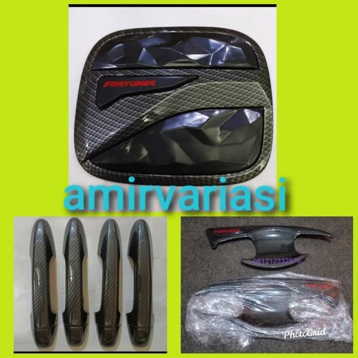 Foto Produk Paket Outer cover door handle + tank cover All new Fortuner VRZ carbon dari amir variasi