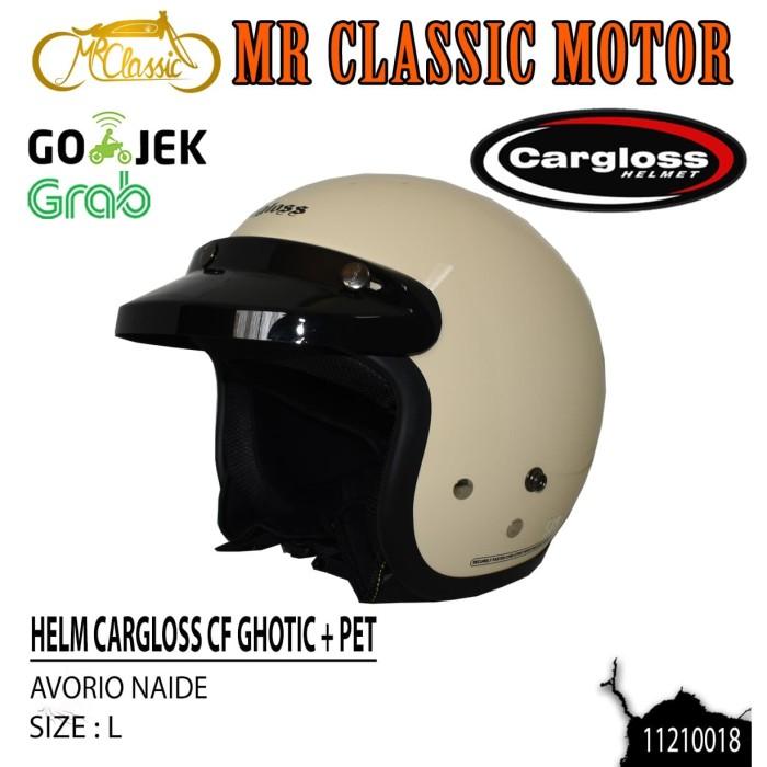 Foto Produk Helm Cargloss Retro CF Ghotic + Pet/Topi Cream Ukuran L dari Mr. Classic Motor