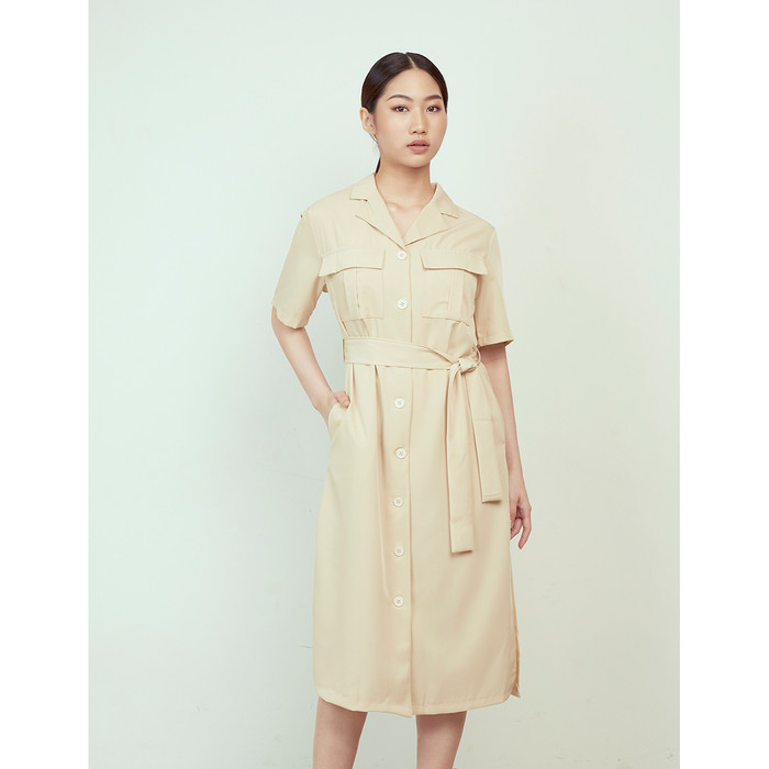 Foto Produk Yuan Market - Horn Button Shirt Dress - Cream, S dari Yuan Market