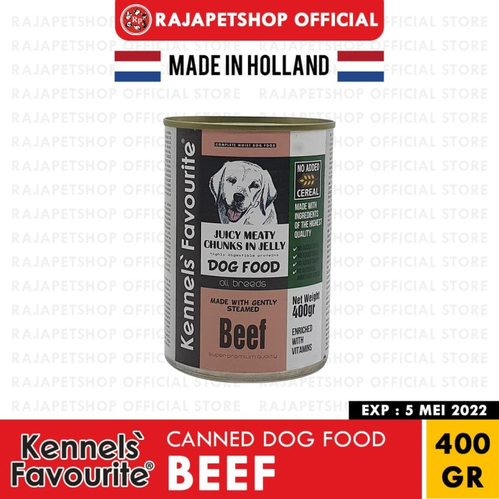 Foto Produk (HOLLAND) KENNELS FAVOURITE CANNED DOG FOOD BEEF 400 GR MAKANAN ANJING dari Rajapetshop official