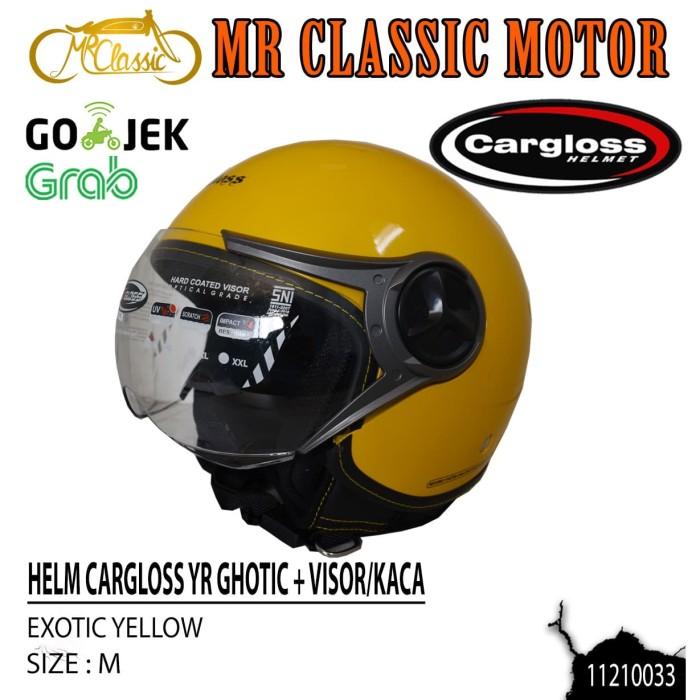 Foto Produk Helm Cargloss Retro YR Ghotic + Visor/Kaca Exotic Yellow Ukuran M dari Mr. Classic Motor