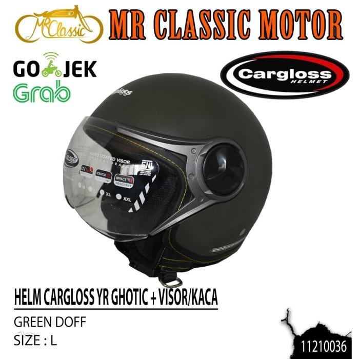 Foto Produk Helm Cargloss Retro YR Ghotic + Visor/Kaca Green Doff Ukuran L dari Mr. Classic Motor