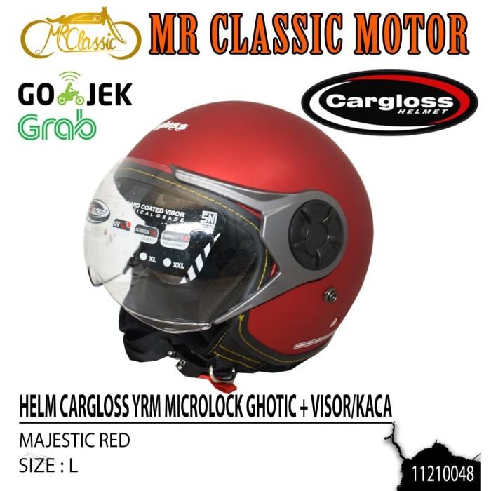 Foto Produk Helm Cargloss Retro YRM Ghotic + Visor/Kaca Majestic Red Ukuran L dari Mr. Classic Motor