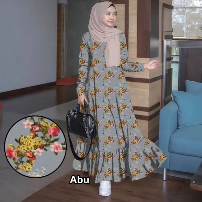 Jual Kembangan Bunga 2 Besar Busui Maxy Abu Gamis 0115 Ta1a Baju Gamis Kota Tangerang Windyastore27 Tokopedia