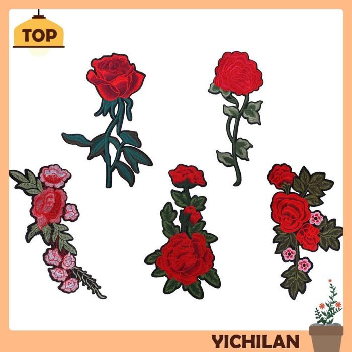 Jual Grosir Yilan Patch Bordir Bunga Mawar Elegan Untuk Aplikasi