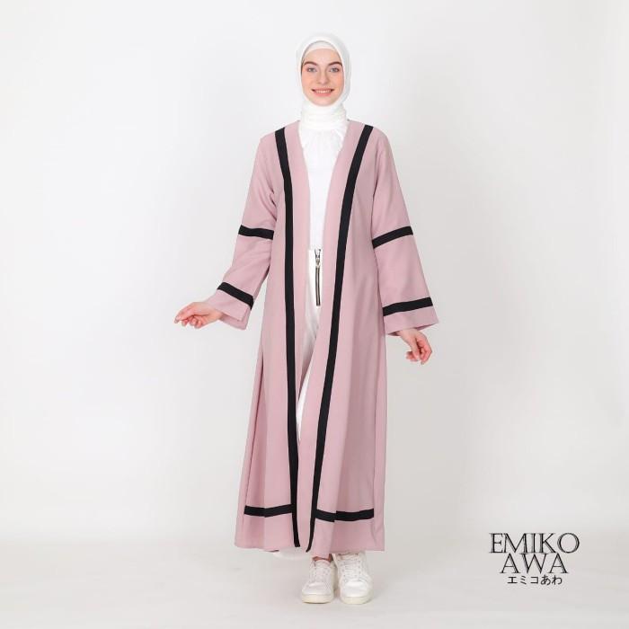 Foto Produk Long Outer Wanita Kombinasi List - Emikoawa Outwear Kimono Baju Kerja - Merah Muda dari emikoawa