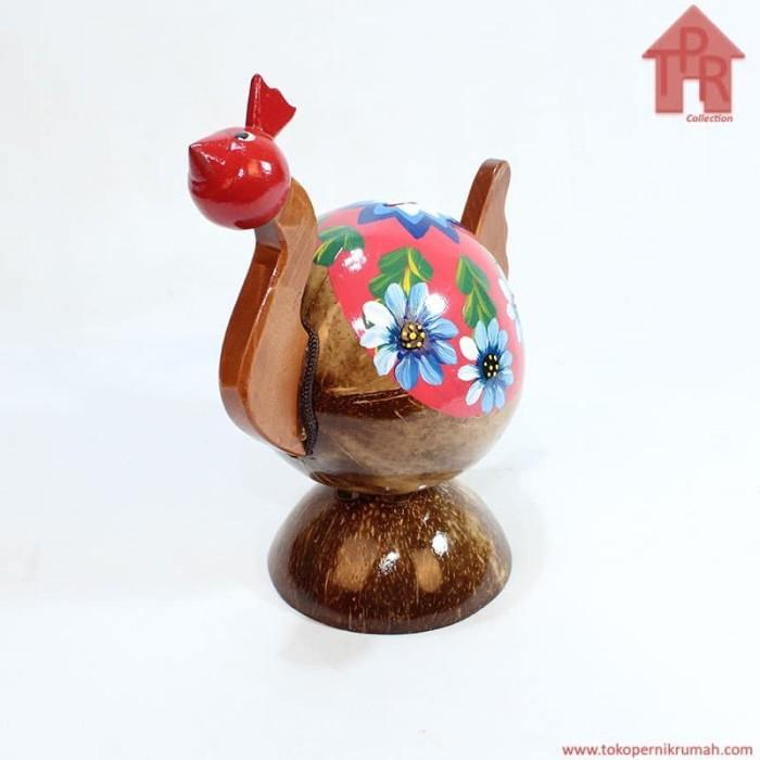 Foto Produk Kerajinan Batok Kelapa│Celengan Ayam Lukis Bunga dari Toko Pernik Rumah