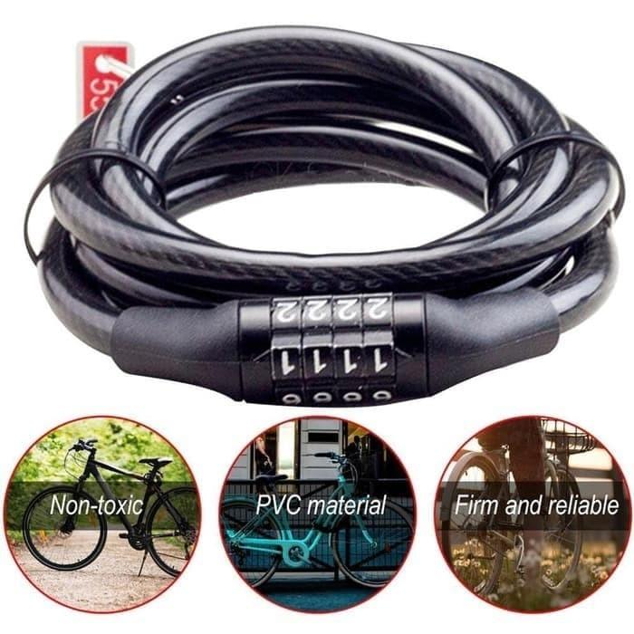 Foto Produk Gembok Kunci Helm Sepeda Motor Kabel 4 Digit dari Bintang Motor Bekasi