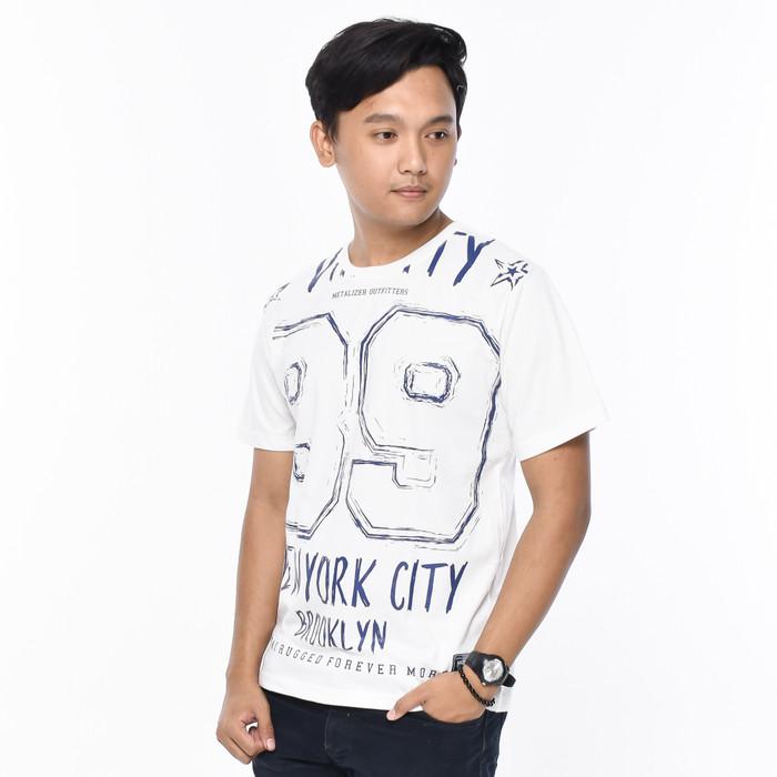 Foto Produk METALIZER 1098 Baju T-Shirt Cowok Kaos Casual Katun Premium - Putih, M dari teetimeid