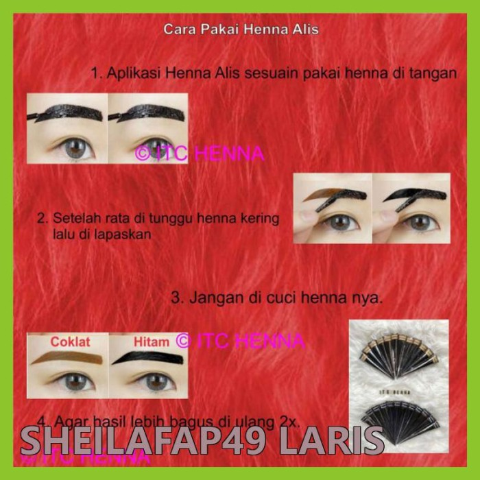 Jual Murah Henna Alis Warna Coklat Hitam 1 Box Isi 12pcs Jakarta Barat Sheilafap49 Laris Tokopedia