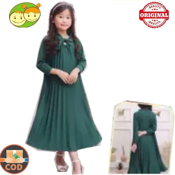 Foto Produk Gamis Plisket Anak Perempuan Muslim Polos - Gamis Anak SD dari BABY AY SHOP