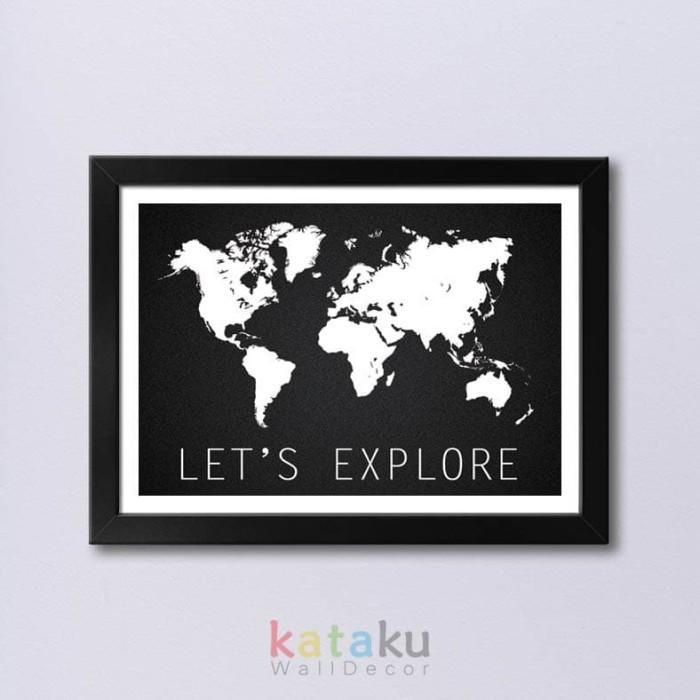 Foto Produk World Map Print Art - Let's Explore - Wall Poster Peta Dunia dari Kataku Wall Decor