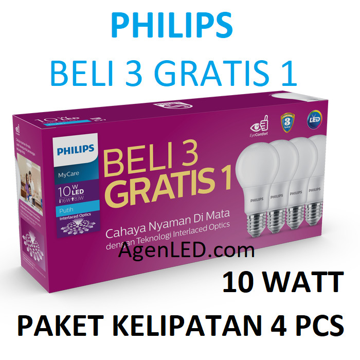 Foto Produk PHILIPS Lampu LED 10W Bohlam 10 w watt PUTIH Bulb philip MyCare 10watt dari AgenLED