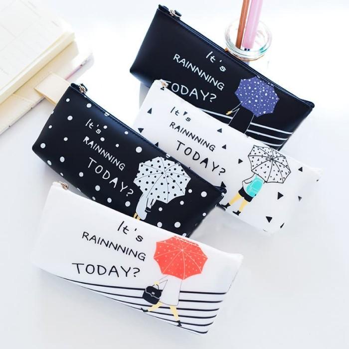 Foto Produk TP0079 Tempat Pensil Umbrella Girl Tempat Kosmetik Pouch - P Biru dari EnnWen Online Store
