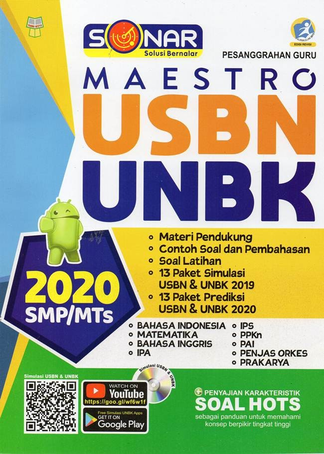 Jual Buku Smp Mts Sonar Maestro Usbn Unbk 2020 Cd Soal Hots K 13 Re Ori Kota Tangerang Selatan Pusat Buku Original Tokopedia
