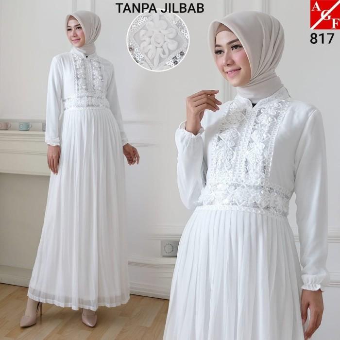 Jual Agnes Gamis Putih Wanita Plisket Brukat Baju Muslim Murah Terbaru 817 L Jakarta Utara Agnes Fashion88 Tokopedia