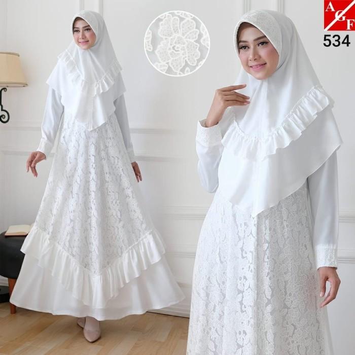 Foto Produk AGNES Baju Gamis Putih Wanita Syari Brukat Busana Muslim Lebaran 534 - M dari Agnes Fashion88