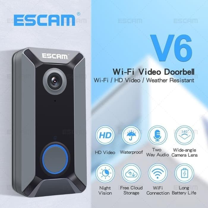 Foto Produk Bell Pintu Wireless Doorbell WiFi IP Camera - Cloud Storage - ESCAM V6 dari EtalaseBelanja