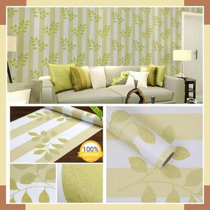 Jual Wallpaper Dinding Ruang Tamu Rumah Kamar Tidur Garis Hijau Berdaun Jakarta Selatan Lois Xu Tokopedia