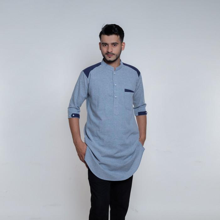 Foto Produk Baju Kurta Pria, Busana Muslim Pria, Baju Koko AD 2024 Biru Muda - XL dari Baju Koko Esquina