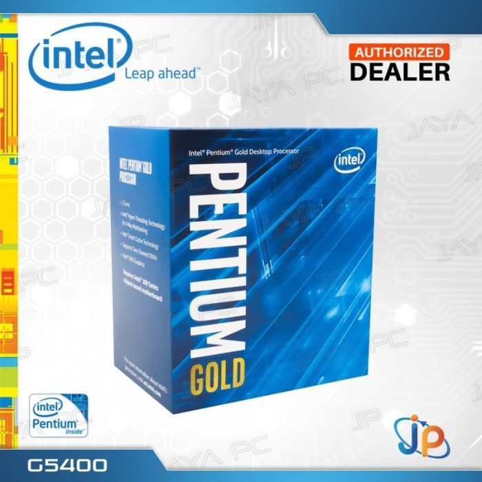 Foto Produk Processor Intel Pentium Gold G5400 Box Coffee Lake Socket LGA 1151 dari Jaya PC