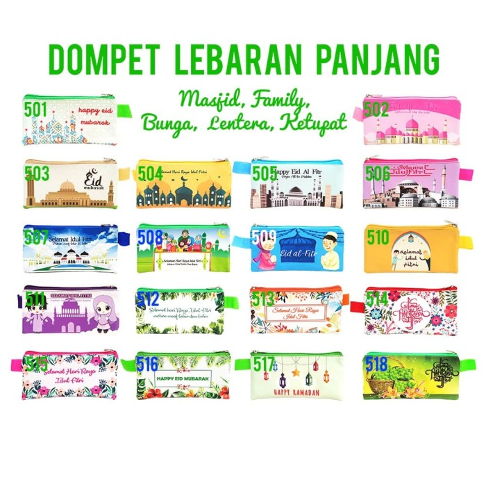 Jual Dompet Lebaran Panjang Custom 1 Design Beda Nama Hari Raya