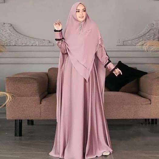 Foto Produk gamis+Khimar heel syar'i mc fashion - Merah Muda dari GROSIR_GAMIS_SYARI