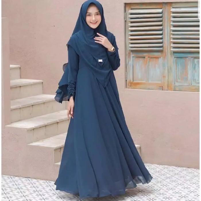 Foto Produk gamis Mayra + Khimar baju muslim wanita terbaru - Navy dari GROSIR_GAMIS_SYARI