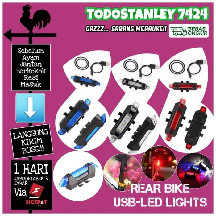 Foto Produk Lampu Belakang Sepeda LED Tail Light Rechargeable Micro USB - Merah dari TODOSTANLEY 7424